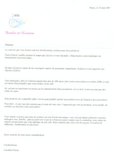 Lettre Doula de Lorraine a Mme E Juin 2007